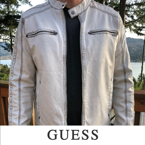 Guess Jackets Coats Mens Faux Leather Moto Jacket Poshmark